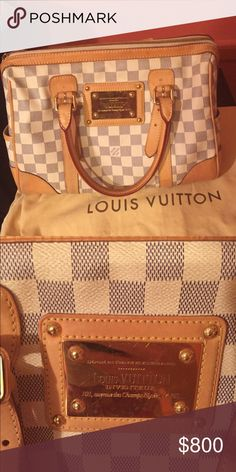 Louis Vuitton Inventeur bag Gray and white checkered with gold hardware . Shows signs of worn on gold plate. Louis Vuitton Bags Totes