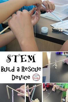 Building real-life models of rescue devices! Students must build a cranking device. Using a real life scenario the idea is to build a device to rescue a fallen friend- and it has a tricky part! Stem Projects, Science Projects, Science Experience, Stem Classes, Stem Steam, Stem Science, Science Topics, Stem Challenges, Project Based Learning