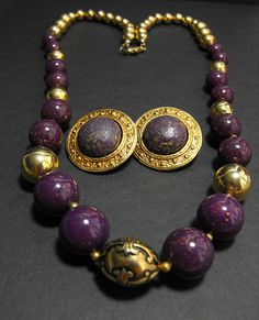 Retro Heavy Purple Glass Gold Metal Chunky Lucite Bead Necklace Earrings *MM* #Unbranded