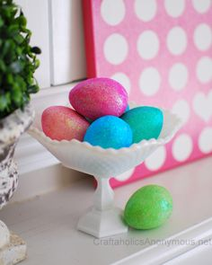 How to make Glitter Easter Eggs Tutorial #craft