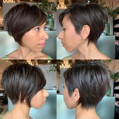 Best Short Layered Pixie Cut Ideas 2019 - The UnderCut Best Short Layered Pixie Cut Ideas In every period of rapidly changing hair trends, short pixie cuts can be an excellent experience Trendy Haircut, Haircuts For Fine Hair, Short Pixie Haircuts, Pixie Hairstyles, Short Hair Cuts, Pixie Cuts, Back Of Short Hair, Short Pixie Bob, Haircut Style