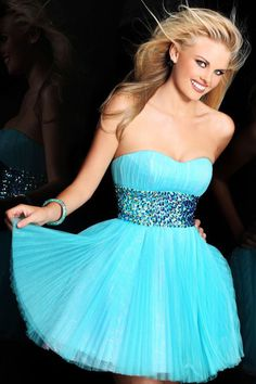 The Most Beautiful 2014 Blue Short Cocktail Dresses Rhinestoned Homecoming Dresses for Teens $137.68