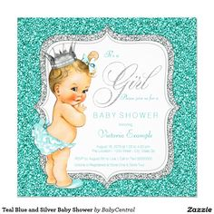 Teal Blue and Silver Baby Shower 5.25x5.25 Square Paper Invitation Card