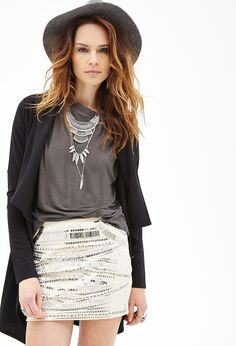 Sequined Pencil Skirt #F21StatementPiece statement necklace!