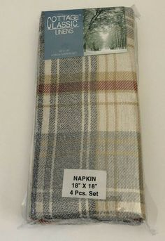 """Autumn CHECK WOVEN Fall COLORS FABRIC NAPKINS NEW SIZE 19/""""X19/"""""""