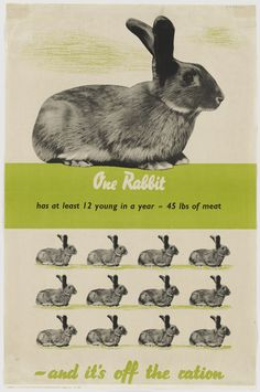 Rabbit, Rabbit....British WW2 poster, one thing that wasn't rationed!