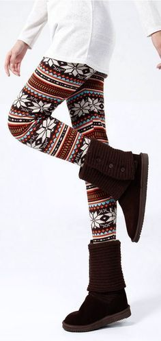 Snowflake Pattern Printed Leggings... I want those shoes!!!