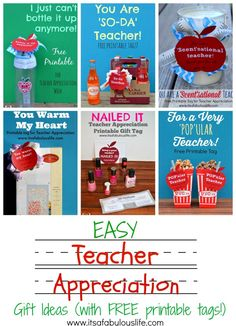 Teacher Appreciation Week – Easy Gift Ideas with Free Printable Tags