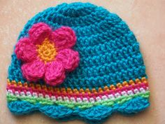 Crochet Baby Hat - no pattern, save for idea