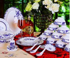 A blue and white porcelain set