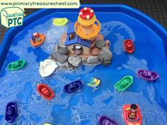 Transport Themed Water Play / Tuff Tray Ideas and Activities - Primary Treasure Chest Eyfs Activities, Nursery Activities, Infant Activities, Activities For Kids, Indoor Activities, Water Activities, Tuff Spot, Toddler Party Games, Toddler Play
