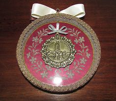 old-Shrine-Frame-w-Medal-of-OUR-LADY-of-FATIMA-gilded-ribbon-silk-bow-NUN-WORK