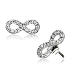 Sparkling Silver Infinity Stud Earrings #jewelry #earrings #silver #infinity