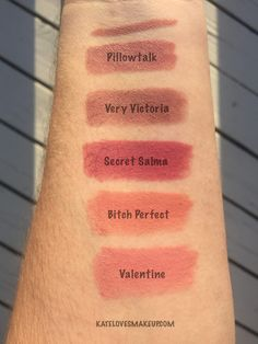 Charlotte Tilbury Pillowtalk Lipstick | Kate Loves Makeup | Swatches of the new Pillow Talk lipstick compared to the lipliner, Very Victoria, Secret Salma, Bitch Perfect and Valentine