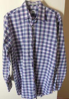 Peter Millar Mens Blue & Pink Plaid Shirt Size Medium Long Sleeve Button Collar  #PeterMillar #ButtonFront