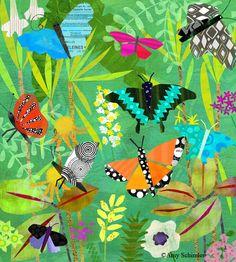 Colourful butterfly illustration by Amy Schimler.