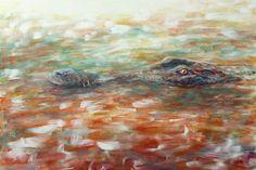 Painting «Crocodile» by Nadine Lière, Acrylic on canvas board, 60 x 40 cm, 2016, grenadine-art.eu