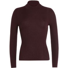 Maison  Margiela Wool Turtleneck ($410) ❤ liked on Polyvore featuring tops, sweaters, red, red top, ribbed sweater, red turtleneck sweater, brown turtleneck and red wool sweater