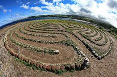 Dragons Teeth Labyrinth, Maui: A labyrinth made of stone on the grassy plain of Makalua-puna Point near Kapalua, Maui offers a spectacular view of nearby Dragon's Teeth.