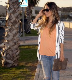 striped blazer + colored shirt