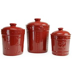 Signature Housewares 3 Piece Ruby Red Ceramic Canister Set #SH