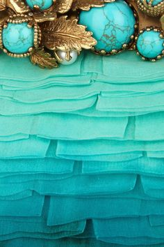 Turquoise, Aqua, Blue Gold - Valentino Embellished Ombré Chiffon Clutch in Blue Shades Of Turquoise, Turquoise Color, Aqua Blue, Shades Of Blue, Color Blue, Lila Gold, Teal And Gold, Verde Aqua, Pierre Turquoise