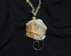 """Necklace, """"Agate Dream,"""" wire-wrapped agate pendant, neutral colors, gift for her"""