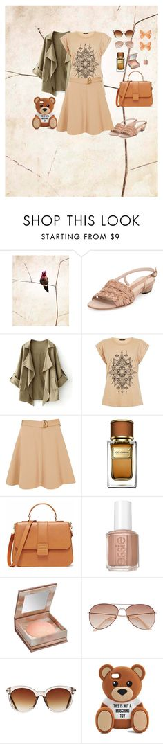 """romantic bege"" by marisa-meirinho ❤ liked on Polyvore featuring Sesto Meucci, River Island, Dolce&Gabbana, Essie, Urban Decay, H&M, Icon Eyewear, Moschino and neutrals"