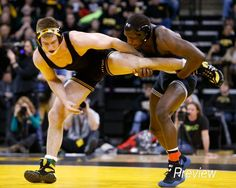 Iowa's Grant Gambrall wrestles Penn State's Ed Ruth during their 184 pound match in their dual meet Friday, Feb. 1, 2013 at Carver-Hawkeye Arena in Iowa City.  (Brian Ray/The Gazette-KCRG)