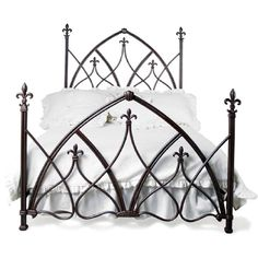 This bed shows repeating Gothic (pointed) arches.