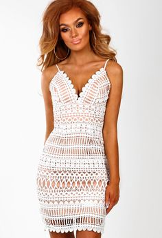 a4aa4ca6 Letters From Paris White and Nude Crochet Mini Dress - 6