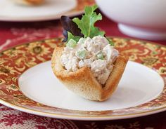 Bread baskets make fun finger food out of Chicken-Almond Salad from TeaTime magazine.