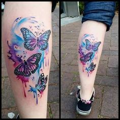 Butterflies tattoo watercolor tattoo, tattoos и rainbow tatt Purple Butterfly Tattoo, Purple Flower Tattoos, Watercolor Butterfly Tattoo, Butterfly Tattoo Cover Up, Butterfly Tattoos For Women, Butterfly Tattoo Designs, Dragonfly Tattoo, Arm Tattoos For Women, Girly Tattoos