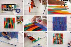 Faça você mesmo: quadro com tinta e fita adesiva #pintura #arte #façavocemesmo