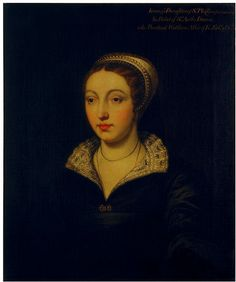Joan Champernonne, Daughter of Sir Philip Champernonne of Modbury, Devon, and Widow of Sir Anthony Denny. Joan was considered to be both beautiful and intelligent, and a member of the burgeoning Protestant faction at court, despite her husband's pro-Catholic inclinations. A lady-in-waiting at the court of Henry VIII. she became a close friend to his sixth wife, Catherine Parr.