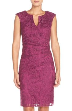Free shipping and returns on Adrianna Papell Pleated Lace Sheath Dress at Nordstrom.com. Meticulous pleating defines the collarbone-skimming neck and side-swept waist of a romantic lace dress that flatters and smoothes the figure.