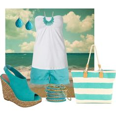 my favorite color :) the color of the ocean!  Great strapless tank for avoiding tan lines too! beaches, untitl 177, blue sky, cloth, color, blue skies, summer outfits, cruis, blues