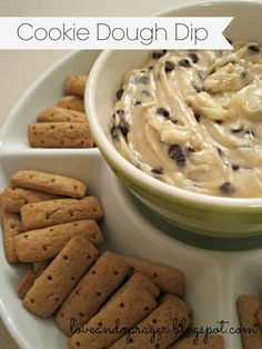 Cookie Dough Dip1/2 C. butter 1/3 C. brown sugar 1 tsp. vanilla 1 block (8 oz) cream cheese, softened 1/2 C. powdered sugar 3/4 C. chocolate chips (mini ones)