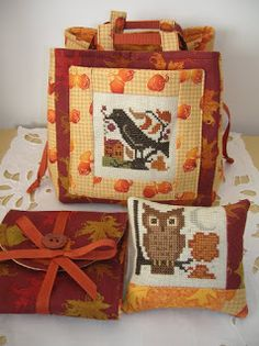 cross stitched owl and crow Autumn pillow and tote bag