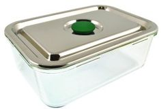 Rectangular Large Airtight Watertight Glass Container with Stainless Steel Lid