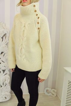 TOPSHOP Cream Chunky Knit Funnel Neck Aran Cable Knit Jumper Street Style Winter Outfit Zara boots River Island Black Skinny Jeans
