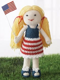 Born on the 4th of July Doll | Yarn | Crochet Patterns | Yarnspirations #free #pattern #crochet #summer