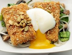Pumpkin-Seed-Crusted Tofu with Lemongrass Broth, Rice Noodles, and ...