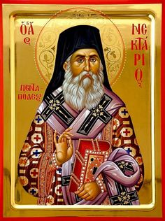 Nectarios of Pentapolis and Aegina Whispers of an Immortalist: Icons of the Venerables 8 Orthodox Catholic, Orthodox Christianity, Catholic Saints, Byzantine Icons, Byzantine Art, Religious Icons, Religious Art, Greek Icons, Church Icon