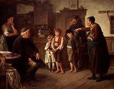 """""""L'interrogatoire chez le maître d'école"""". Benjamin Vautier (Swiss, 1829-1898)"""