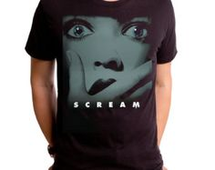Scream For Me (SCR0040-501BLK) men's tee. scary movies, masks, thriller, wes craven, halloween, horror, 90s movies, miramax