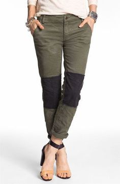 Free People Knee Patch Skinny Chino Pants Olive Green Size 4 S Military $77 #FreePeople #KhakisChinos