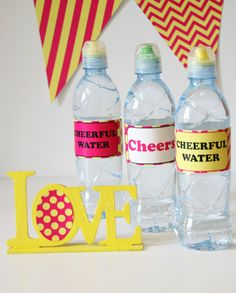Water BOTTLE LABLES Printable  Yellow & Pink Party by Siskale