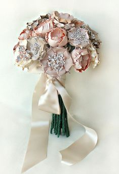 Brooch and Silk Flowers