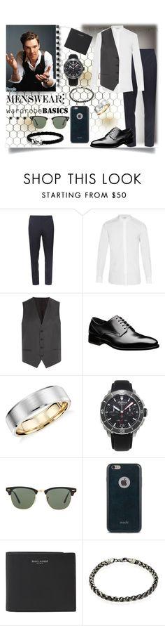 """Wardrobe Basics"" by jeneric2015 ❤ liked on Polyvore featuring Burberry, Yves Saint Laurent, HUGO, Blue Nile, Alpina, Ray-Ban, Moshi, David Yurman, mens and men"
